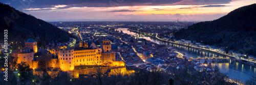 canvas print picture Heidelberg bei Nacht