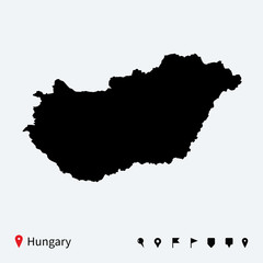 High detailed vector map of Hungary with navigation pins.