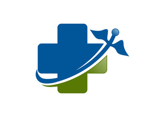 Pharmacy logo, cross medical vector