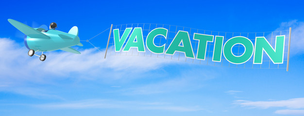 Cartoon Airplanes with Vacation Banner