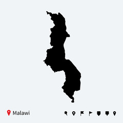 High detailed vector map of Malawi with navigation pins.