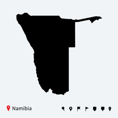 High detailed vector map of Namibia with navigation pins.