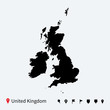 High detailed vector map of United Kingdom with navigation pins. - 67894495