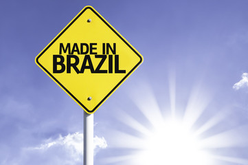 Made in Brazil road sign with sun background
