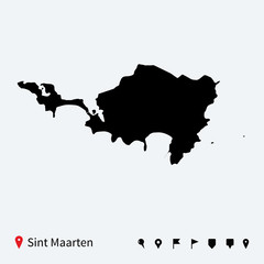 High detailed vector map of Sint Maarten with navigation pins.