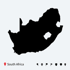 High detailed vector map of South Africa with navigation pins.