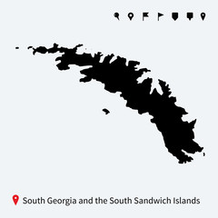 Detailed map of South Georgia and Sandwich Islands with pins.