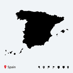 High detailed vector map of Spain with navigation pins.