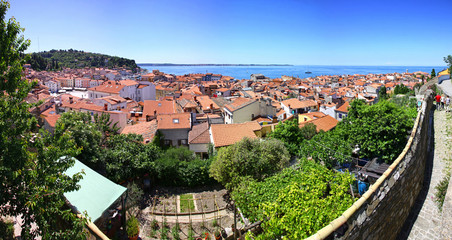 Panoramic view of Piran old town, Slovenia
