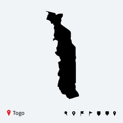 High detailed vector map of Togo with navigation pins.