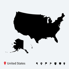 High detailed vector map of United States with navigation pins.