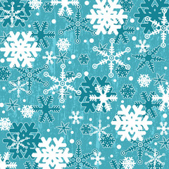 Pattern with snowflakes on blue
