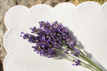 Lavender flowers on white napkin