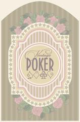 Vintage casino poker card, vector illustration