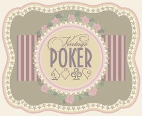 Vintage poker label banner, vector illustration