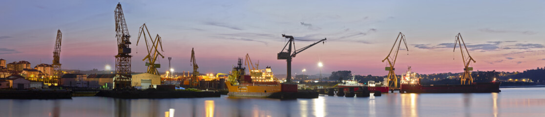 View of the industrial area with cranes.