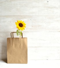 Craft paper bag with sun flower