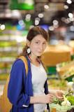 ?oung woman at supermarket