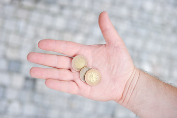 Golden and silvery coins on hand