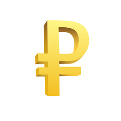 golden currency symbol of rouble