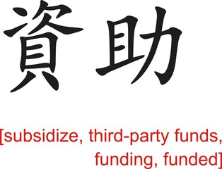 Chinese Sign for subsidize, third-party funds, funding, funded