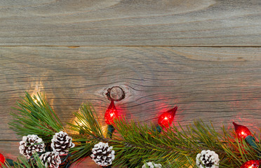 Christmas Lights on Rustic Wooden Boards
