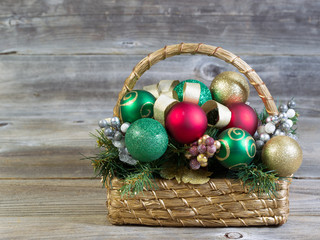 Christmas Basket on Rustic Wood