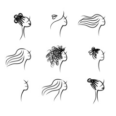 Set of female hairstyle, sketch for your design