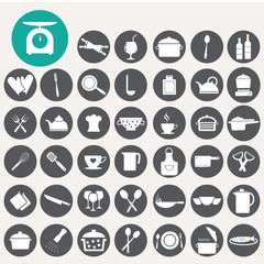 Food and kitchen icons set. Illustration eps10