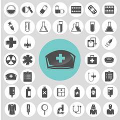 Medical icons set. Illustration eps10