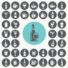 Drink icons set. Illustration eps10