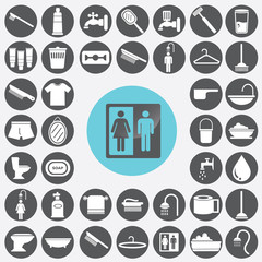 Bathroom icons set. Illustration eps10