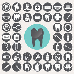 Dental icons set. Illustration eps10