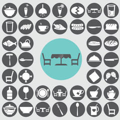 Dining room icons set. Illustration eps10