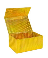 Open yellow holographic gift box