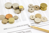 world coins stack on funding account summarizing for financial c poster