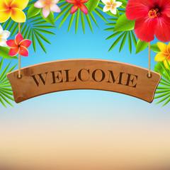 Wooden Sign With Tropical Flowers