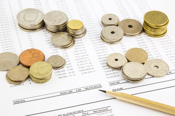 world coins stack on funding account summarizing for financial c