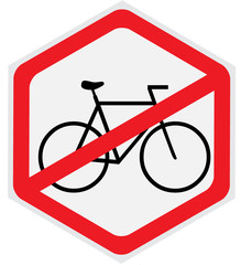 No bikes allowed sign, hexagon