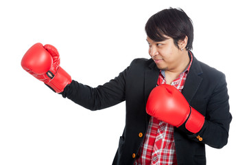 Asian man wear boxing gloves and smile