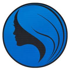 silhouette profil de femme sur plaque ronde