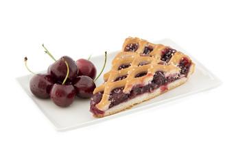 Fresh backed cherry pie on white background