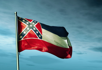 Mississippi (USA) flag waving on the wind