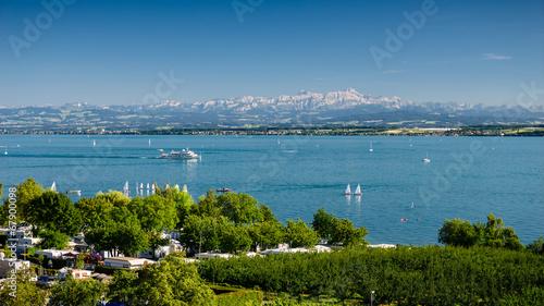 Foto op Plexiglas Meer / Vijver Bodensee mit dem Säntis im Hintergrund