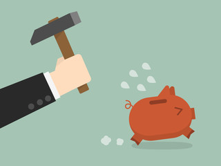 businessman try to break piggybank, vector illustration