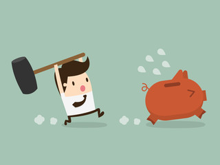 businessman holding hammer breaking piggybank, vector illustrati