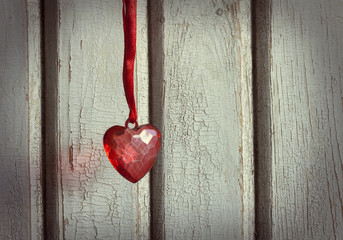 heart on red ribbon