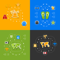 Set of summer tourism icons