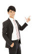 young business man show something by gun posture