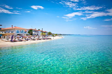Beautiful Pefkochori beach on Kasandra, Greece.